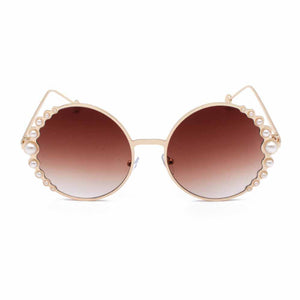 Elna Brown Pearl Round Sunglasses - Ferosh