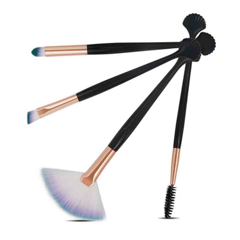 Ebony Black-White 4 MakeUp Brush Set - Ferosh