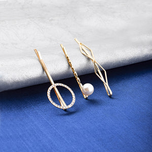 Estelle Circle Crystal Pearl 3 Hair Pin Set - Ferosh