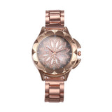 Emma Chunky Floral Golden Watch - Ferosh
