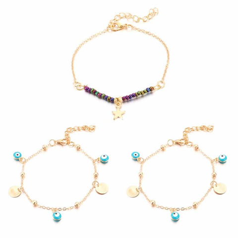 Evil Eye Beaded Golden 3 Pcs Anklet Set - Ferosh