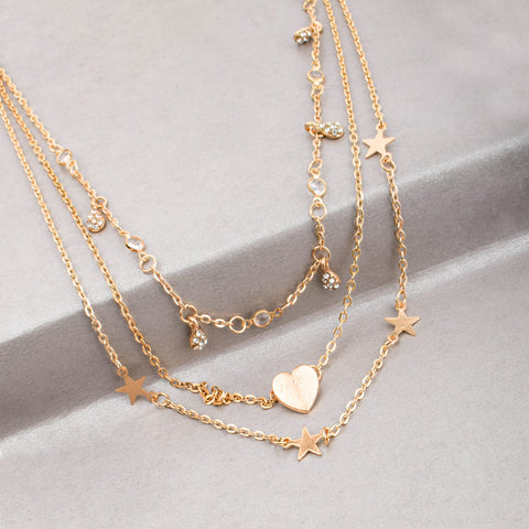 Ferosh Gold Metal Three Layered Heart Necklace Chain For Womens - Jewellery Online