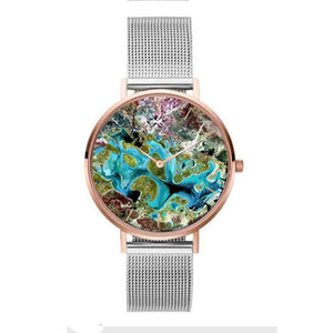 Earth Graffiti Silver Rose Gold Strappy Watch - Ferosh