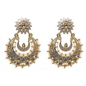 Eshana Ice-Grey Golden Chandbali Earrings - Ferosh