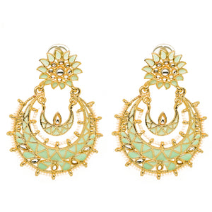 Eshana Light Green Golden Chandbali Earrings