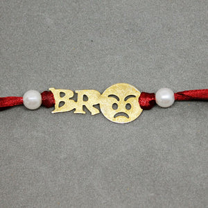 Emoji Bro Red Gold Brass Rakhi - Ferosh