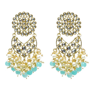 Ekiya Golden Pearl Blue Charm Stonework Ethnic Earrings - Ferosh
