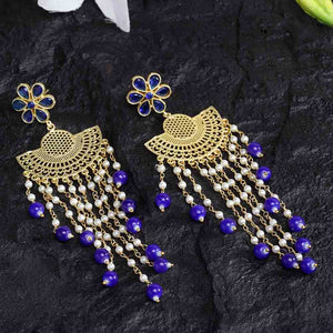 Electric Blue Golden Pearl Chained Earrings - Ferosh