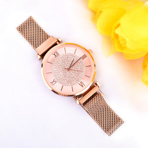 Edrea RoseGold Bling Magnetic Strap Watch - Ferosh