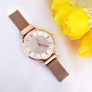 Edrea White Dial Bling Rose Gold Magnetic Strap Watch - Ferosh
