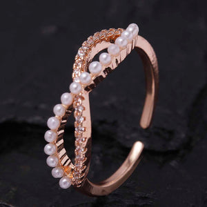 Pearl Infinity Rosegold Adjustable Ring