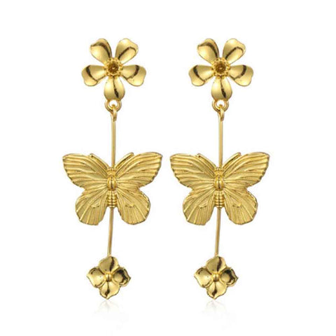 Floarea Butterfly Glistening Golden Drop Earrings - Ferosh