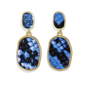 Fahari Deep Blue-Black Printed Drop Earrings - Ferosh