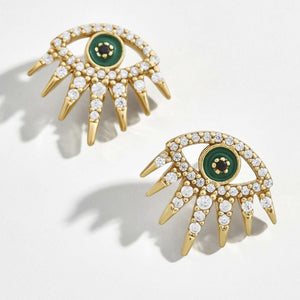 Ferosh Green Evil Eye Stud Earrings