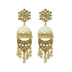 Farzeen Golden-Green Jhumki Stonework Chandbali Earrings - Ferosh