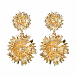 Florinio Golden Sunflower Drop Earrings - Ferosh