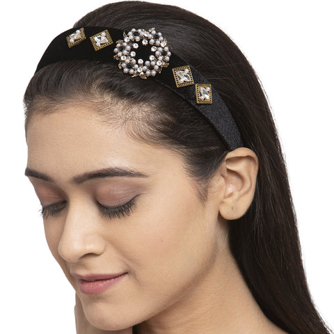 Black Crystals Loaded Hair Band