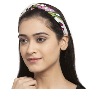 White-Purple Floral Hairband