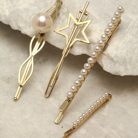 Starry Pearl Hairpins Set - Set of 4