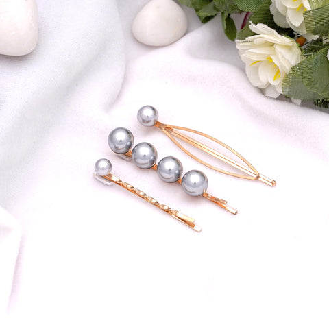 Grey Pearl Hairpins - Set of 3
