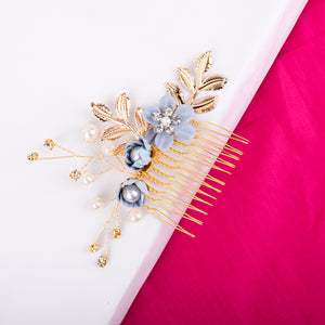 Fire lily Blue gold floral hair pin - Ferosh