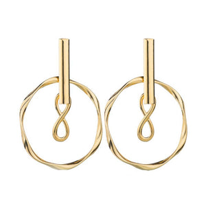 Farha Infinity Loop Gold Drop Earrings - Ferosh