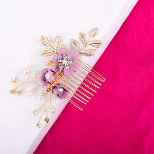 Fire lily Pink gold floral hair pin - Ferosh