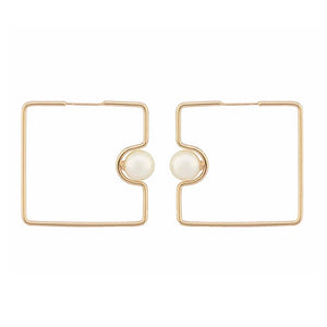 Flavia Squared Hoop Pearl Golden Earrings - Ferosh