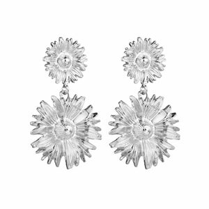 Ferosh Floral Silver Drop Earrings For Women - Dangler Earrings Online
