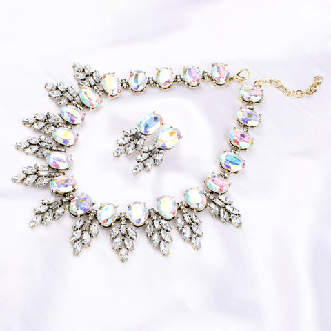 Ferosh White Stone Statement Necklace & Earrings set For Women - Jewellery Set & Neckpieces Online