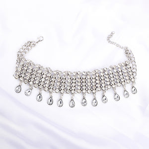 Griana Silver Crystal Statement Choker Necklace - Ferosh