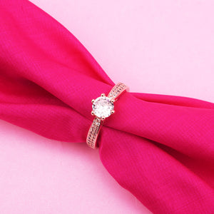 Gemma Rhinestone Rose Golden Ring - Ferosh
