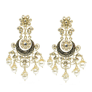Glora Golden Black Stonework Pearl Ethnic Earrings - Ferosh