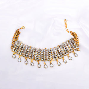 Ferosh Golden Crystal Stone Statement Choker Necklace for Women - Neckpieces Online