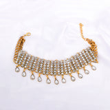 Griana Golden Crystal Statement Choker Necklace - Ferosh