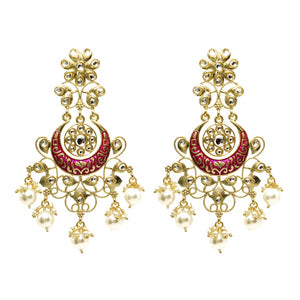 Ferosh Kundan Enamel Gold Plated Ethnic Earrings For Women - Drop Earrings Online