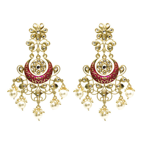 Glora Golden Pink Stonework Pearl Ethnic Earrings - Ferosh