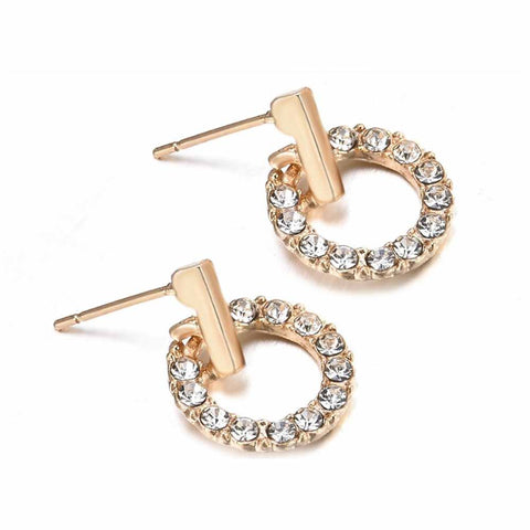 Ferosh Grazina Golden Rhinestone Circular Drop Earrings