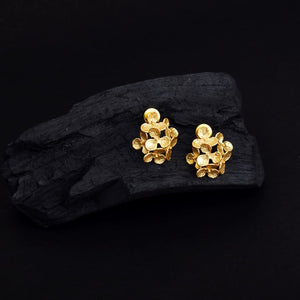 Ferosh Gold Plated Ethnic Flora Desgin Stud For Women - Ethnic Earrings Online