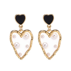Glenis Melting Pearl Heart Golden Drop Earrings - Ferosh