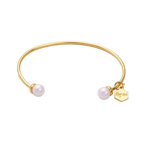 Graciela Pearl Charm Golden Bangle Bracelet - Ferosh