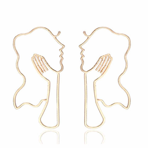 Golden Stylish Girl Earrings - Ferosh