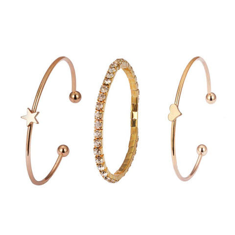 Glitzy Star Heart Gold 3 Pcs Bracelet Set - Ferosh