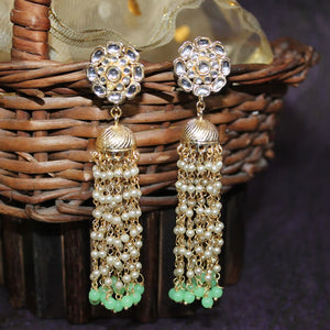 Hena Green Floral Pearl Drop Jhumki Golden Earrings - Ferosh