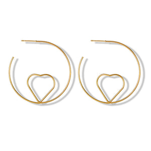 Heart Half-Hoop Gold Earrings - Ferosh