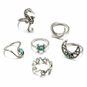 Turquoise Silver Oxidized 6 Pcs Ring Set - Ferosh