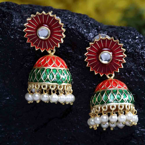 Irit Floral Green-Red Golden Jhumkis - Ferosh