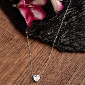 Silver Crystal Heart Pendant Necklace