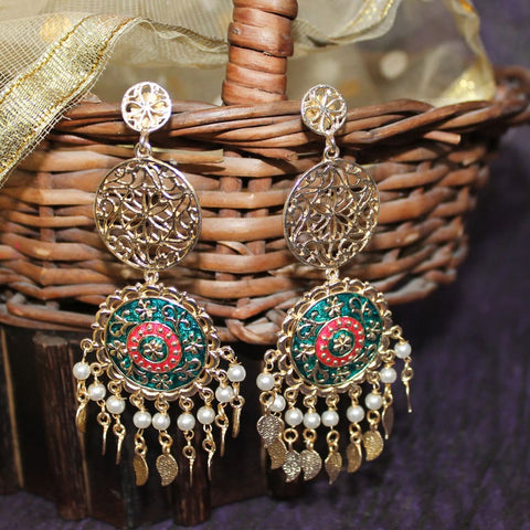 Ira Golden Red-Green Dream Catcher Ethnic Earrings - Ferosh