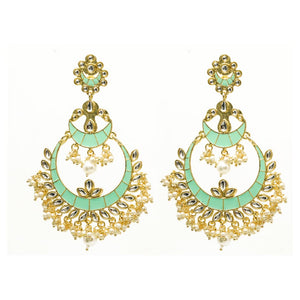 Idika Turquoise Golden Pearl Chandbali Earrings - Ferosh